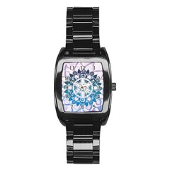 Mandalas Symmetry Meditation Round Stainless Steel Barrel Watch