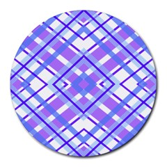 Geometric Plaid Pale Purple Blue Round Mousepads