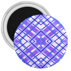 Geometric Plaid Pale Purple Blue 3  Magnets