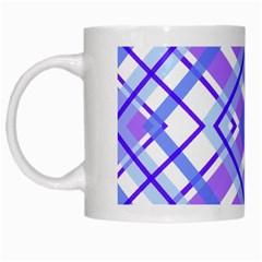 Geometric Plaid Pale Purple Blue White Mugs