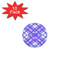 Geometric Plaid Pale Purple Blue 1  Mini Buttons (10 Pack)