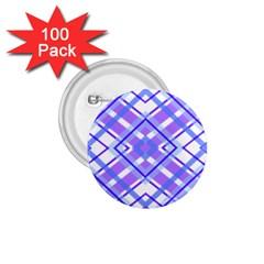 Geometric Plaid Pale Purple Blue 1 75  Buttons (100 Pack)