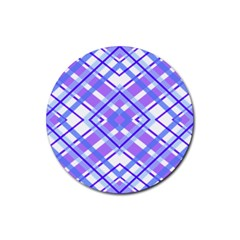 Geometric Plaid Pale Purple Blue Rubber Round Coaster (4 Pack)