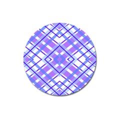 Geometric Plaid Pale Purple Blue Magnet 3  (round)