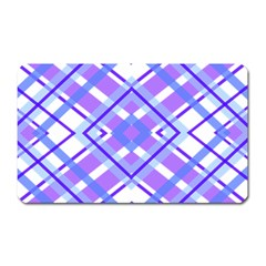 Geometric Plaid Pale Purple Blue Magnet (rectangular)
