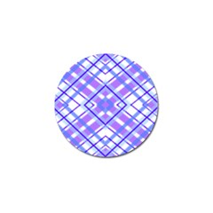 Geometric Plaid Pale Purple Blue Golf Ball Marker