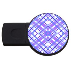 Geometric Plaid Pale Purple Blue Usb Flash Drive Round (2 Gb)