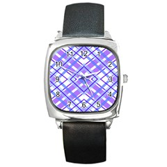 Geometric Plaid Pale Purple Blue Square Metal Watch