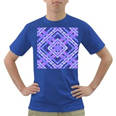 Geometric Plaid Pale Purple Blue Dark T Shirt