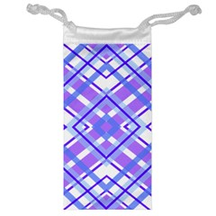Geometric Plaid Pale Purple Blue Jewelry Bag