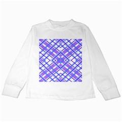 Geometric Plaid Pale Purple Blue Kids Long Sleeve T-Shirts