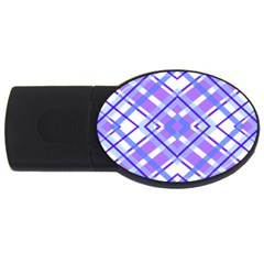 Geometric Plaid Pale Purple Blue Usb Flash Drive Oval (4 Gb)
