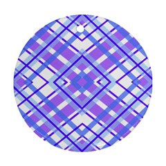 Geometric Plaid Pale Purple Blue Round Ornament (two Sides)