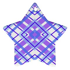 Geometric Plaid Pale Purple Blue Star Ornament (two Sides)