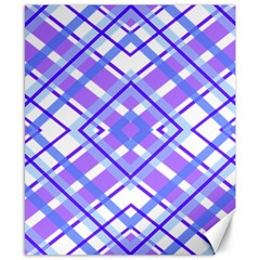 Geometric Plaid Pale Purple Blue Canvas 8  X 10