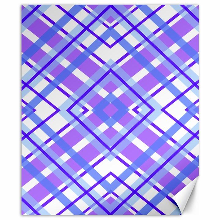 Geometric Plaid Pale Purple Blue Canvas 8  x 10