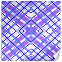 Geometric Plaid Pale Purple Blue Canvas 12  X 12