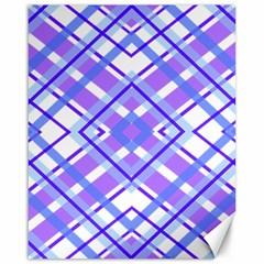 Geometric Plaid Pale Purple Blue Canvas 16  X 20
