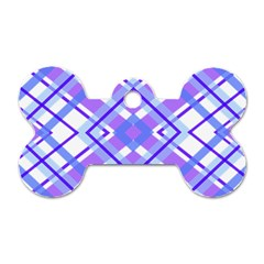 Geometric Plaid Pale Purple Blue Dog Tag Bone (one Side)