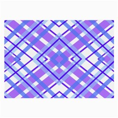 Geometric Plaid Pale Purple Blue Large Glasses Cloth