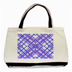 Geometric Plaid Pale Purple Blue Basic Tote Bag (two Sides)