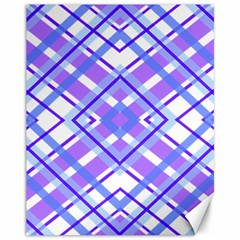 Geometric Plaid Pale Purple Blue Canvas 11  X 14