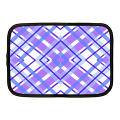 Geometric Plaid Pale Purple Blue Netbook Case (Medium)