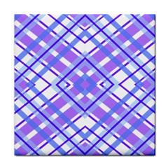 Geometric Plaid Pale Purple Blue Face Towel
