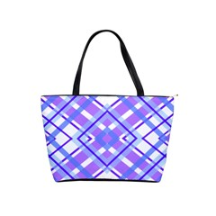 Geometric Plaid Pale Purple Blue Shoulder Handbags