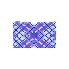 Geometric Plaid Pale Purple Blue Cosmetic Bag (small)