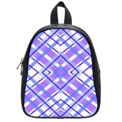 Geometric Plaid Pale Purple Blue School Bags (Small)