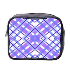 Geometric Plaid Pale Purple Blue Mini Toiletries Bag 2-Side