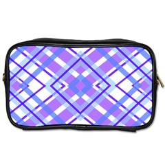 Geometric Plaid Pale Purple Blue Toiletries Bags