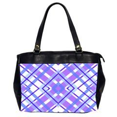 Geometric Plaid Pale Purple Blue Office Handbags (2 Sides)