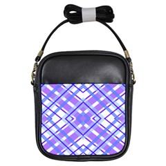 Geometric Plaid Pale Purple Blue Girls Sling Bags