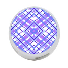 Geometric Plaid Pale Purple Blue 4 Port Usb Hub (one Side)