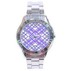 Geometric Plaid Pale Purple Blue Stainless Steel Analogue Watch