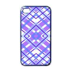 Geometric Plaid Pale Purple Blue Apple iPhone 4 Case (Black)
