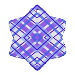 Geometric Plaid Pale Purple Blue Ornament (snowflake)
