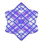 Geometric Plaid Pale Purple Blue Ornament (Snowflake) Front