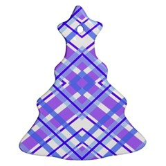 Geometric Plaid Pale Purple Blue Ornament (christmas Tree)