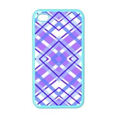Geometric Plaid Pale Purple Blue Apple Iphone 4 Case (color)