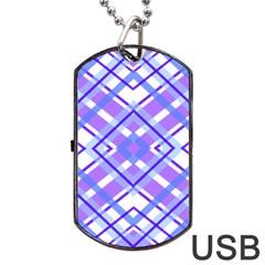 Geometric Plaid Pale Purple Blue Dog Tag Usb Flash (one Side)