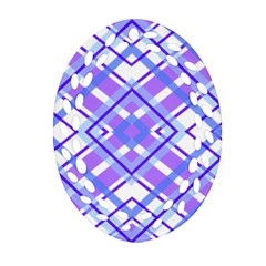 Geometric Plaid Pale Purple Blue Ornament (oval Filigree)