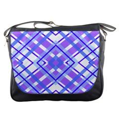 Geometric Plaid Pale Purple Blue Messenger Bags