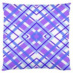 Geometric Plaid Pale Purple Blue Large Cushion Case (two Sides)