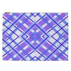 Geometric Plaid Pale Purple Blue Cosmetic Bag (xxl)