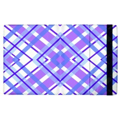Geometric Plaid Pale Purple Blue Apple Ipad 3/4 Flip Case