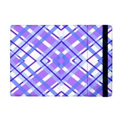 Geometric Plaid Pale Purple Blue Apple Ipad Mini Flip Case