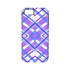 Geometric Plaid Pale Purple Blue Apple Iphone 5 Classic Hardshell Case (pc+silicone)